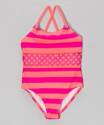 Angel Beach Pink & Orange In Bloom One-Piece - Girls