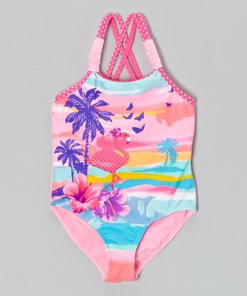 Angel Beach Light Pink Oahu Beach One-Piece - Girls
