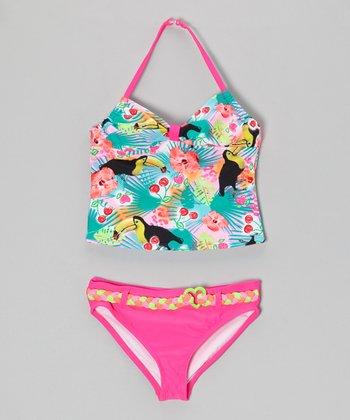 Angel Beach Aqua You Can Sam Tankini - Girls