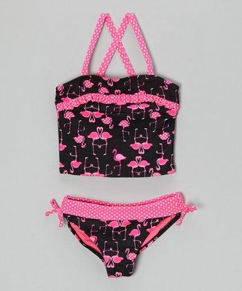 Angel Beach Pink & Black Flamingo Tango Tankini - Girls