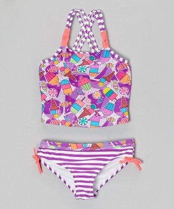 Angel Beach Purple Yummy Tankini - Girls