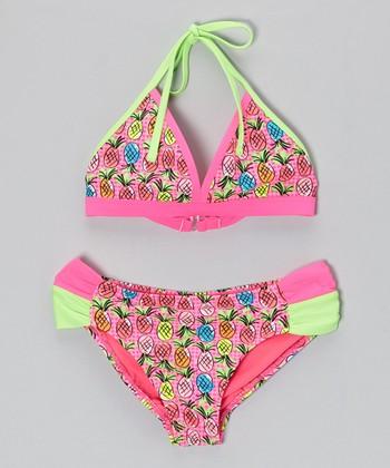 Angel Beach Pink & Lime Tropicana Bikini - Girls