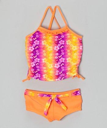 Angel Beach Orange Flower Shower Tankini - Girls