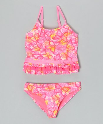 Angel Beach Pink Lacey Flutter Tankini - Girls