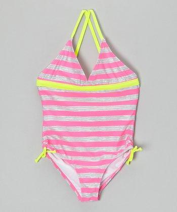 Angel Beach Pink & Gray Optic Stripe One-Piece - Girls