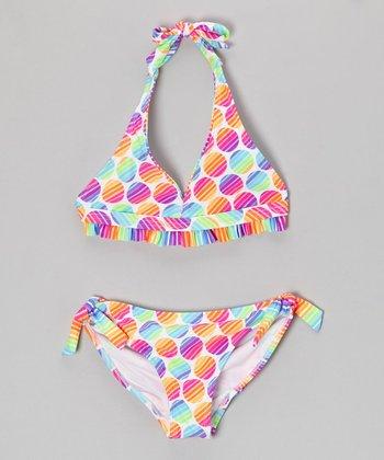 Angel Beach Neon Rainbow Polka Dot Beach Ball Bikini - Girls