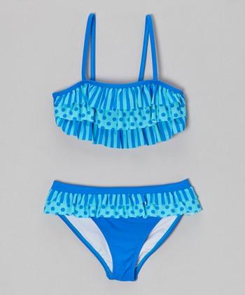 Angel Beach Blue In Bloom Skirted Bikini - Girls