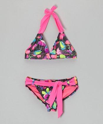 Angel Beach Dark Pink Butterfly Shimmer Bikini - Girls