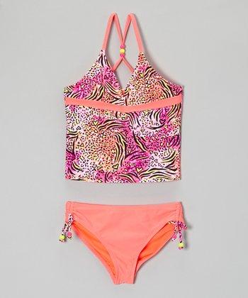 Angel Beach Coral Pretty Kitty Tankini - Girls