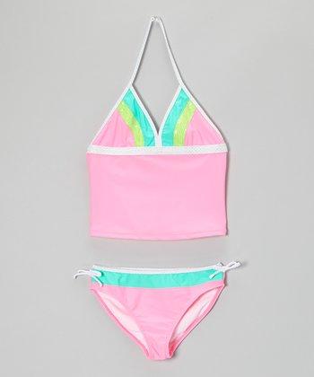 Angel Beach Baby Pink Sequin Surplice Tankini - Girls
