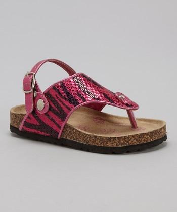 Josmo Fuchsia Zebra Sequin Cork Sandal