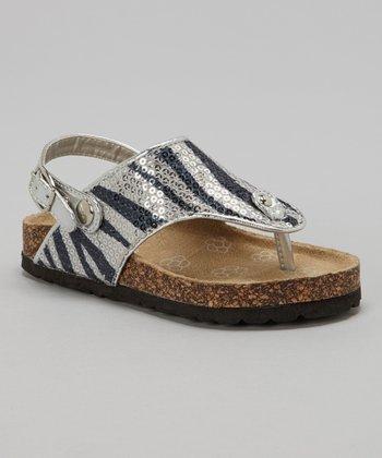 Josmo Silver Zebra Sequin Cork Sandal