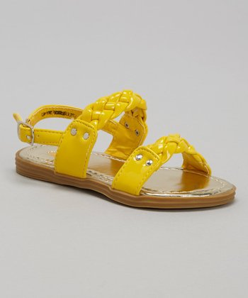 Yellow Patent Leather Braided Sandal
