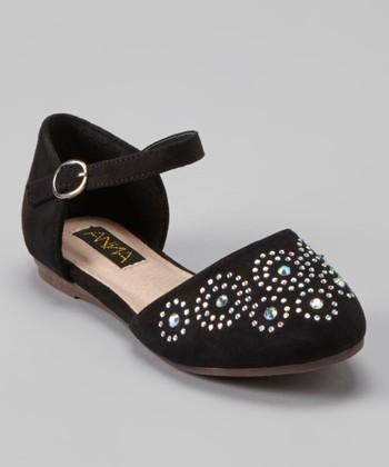 Anna Shoes Black Rhinestone Stud Flat