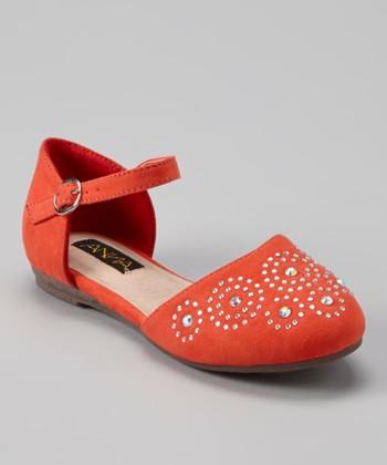 Anna Shoes Melon Rhinestone Stud Flat