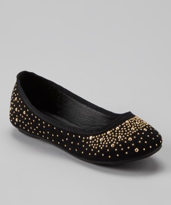 Anna Shoes Black & Gold Studded Flat
