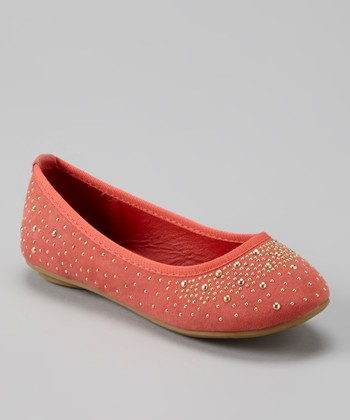 Anna Shoes Blush & Gold Studded Flat
