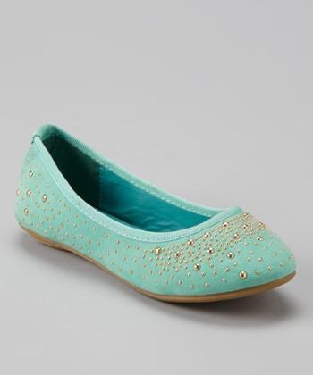 Anna Shoes Mint & Gold Studded Flat