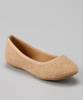 Anna Shoes Tan & Gold Studded Flat