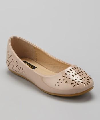 Anna Shoes Nude Eyelet Flat