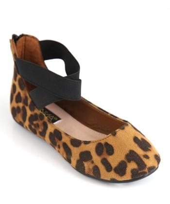 Anna Shoes Beige & Black Leopard Pam Flat