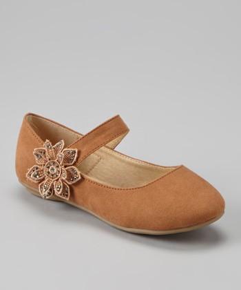 Anna Shoes Camel Sequin Flower Appliqué Mary Jane