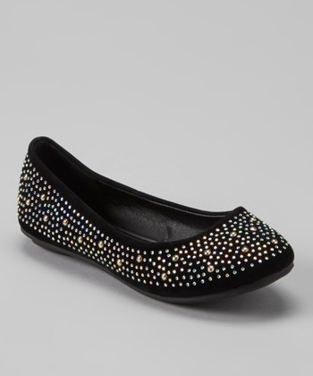 Anna Shoes Black & Silver Studded Flat