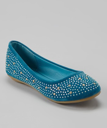 Anna Shoes Blue & Silver Studded Flat