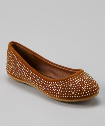 Anna Shoes Camel & Silver Studded Flat