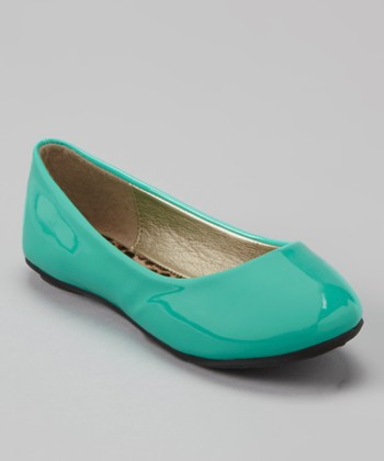 Anna Shoes Teal Patent Flat