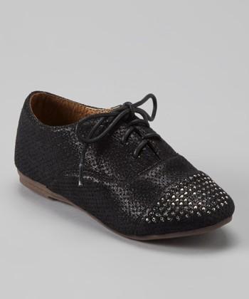 Anna Shoes Black Studded Oxford Dress Shoe