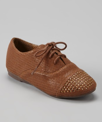 Anna Shoes Brown Studded Oxford Dress Shoe