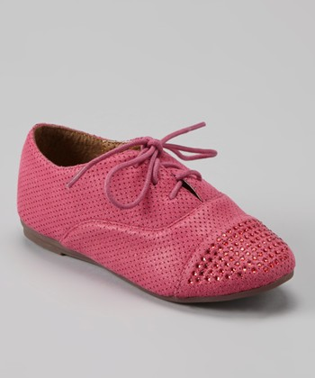 Anna Shoes Pink Studded Oxford Dress Shoe