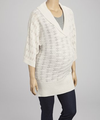 Taupe Aiko Wool-Blend Maternity Shawl Collar Top