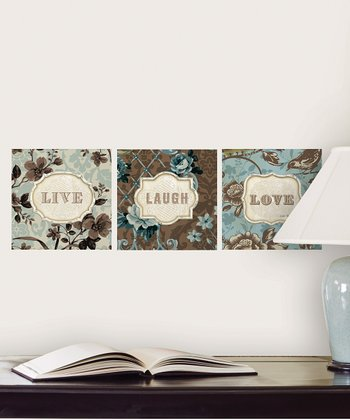 Brown & Blue 'Live' Wall Decal Set