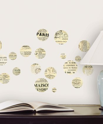 Cream & Black Newsprint Dot Wall Decal Set