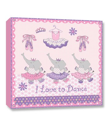Pink & Purple 'I Love to Dance' Canvas Art