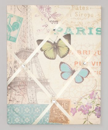 Green & Cream 'Paris' Ribbon Memo Board
