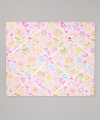 Pink Birds & Flowers Ribbon Memo Board