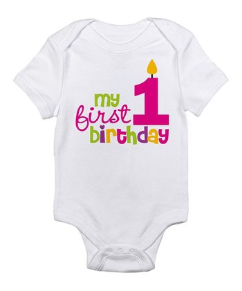 White & Pink 'First Birthday' Bodysuit - Infant