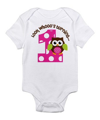 White & Pink Polka Dot Owl '1' Bodysuit - Infant