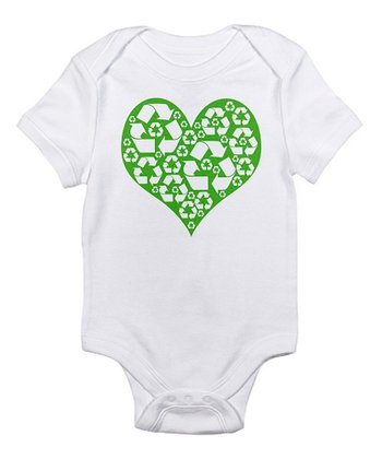 White Green Heart Recycle Bodysuit - Infant