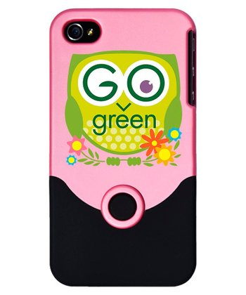 Pink & Black 'Go Green' Owl Case for iPhone 4/4s