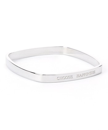Silver 'Choose Happiness' Bangle