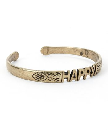 Antique Gold 'Happy' Cuff