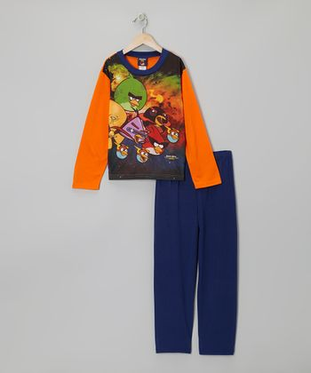 Blue & Orange Angry Birds Pajama Set - Boys