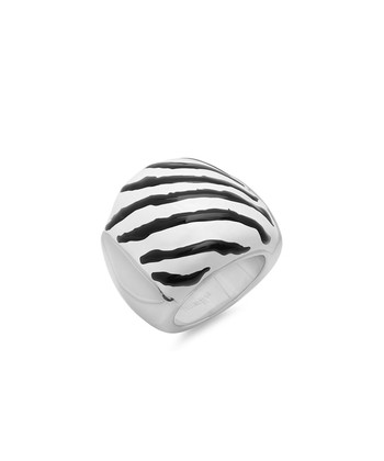 White & Black Metallic Zebra Ring