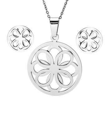 Stainless Steel Double Clover Pendant Necklace & Earrings