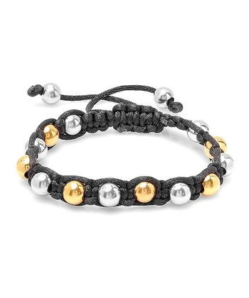 Gold & Black Beaded Stretch Bracelet