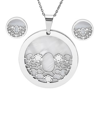 Stainless Steel Cutout Pendant Necklace & Earrings